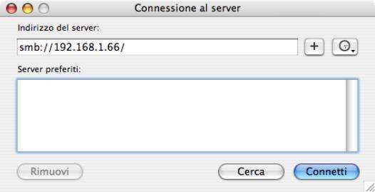 MAC OS X connessioe al server